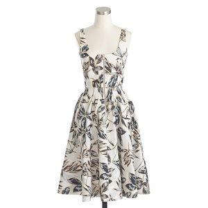 J crew foiled leaf linen zip front dress size 4